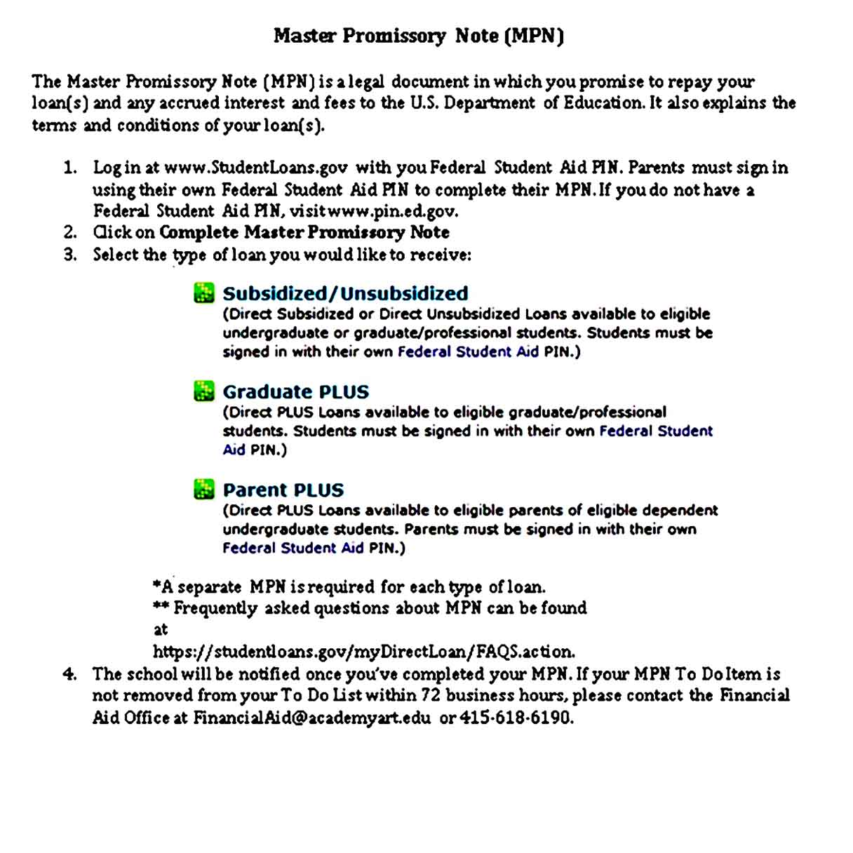 master promissory note references