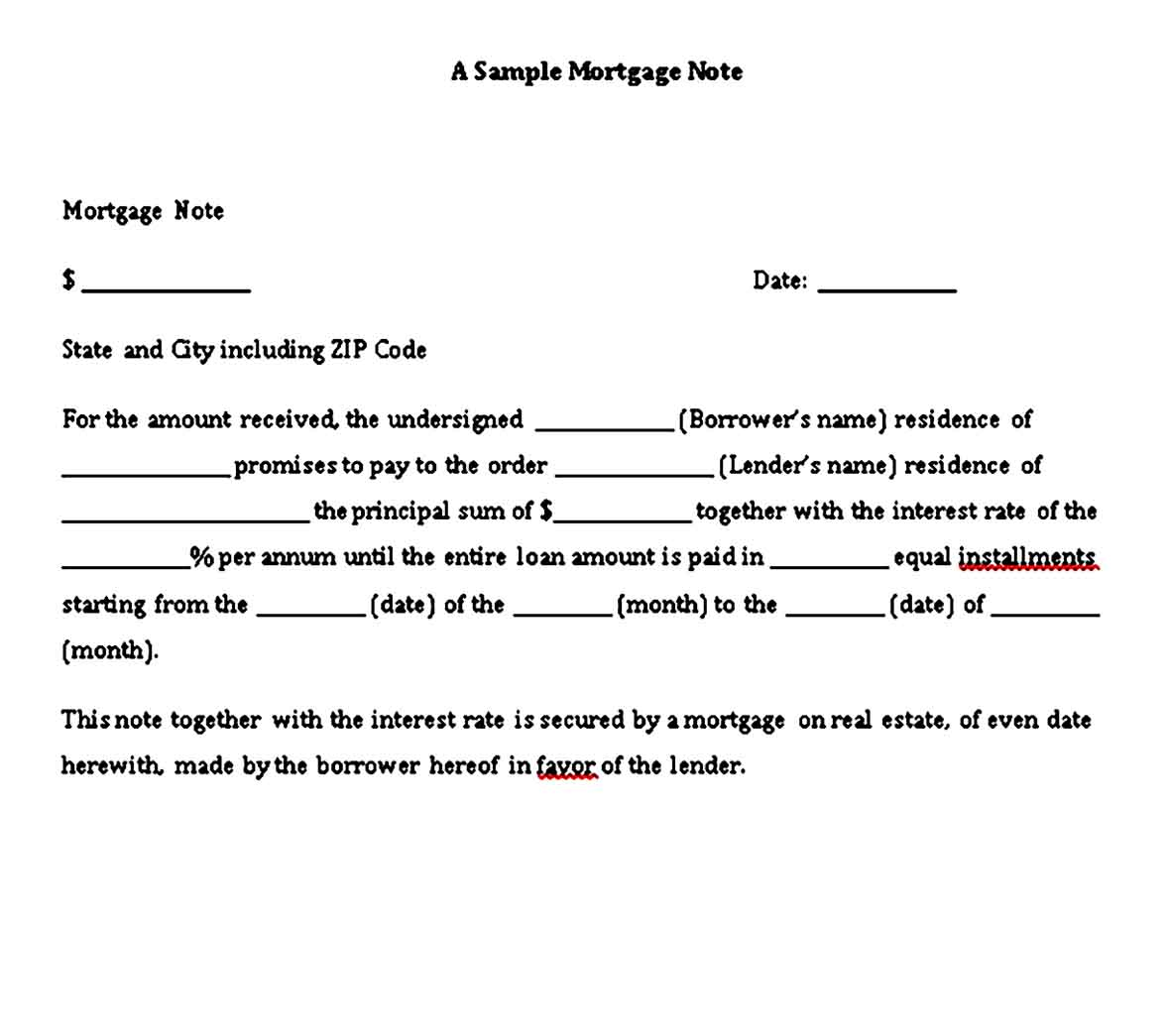 mortgage promissory note template