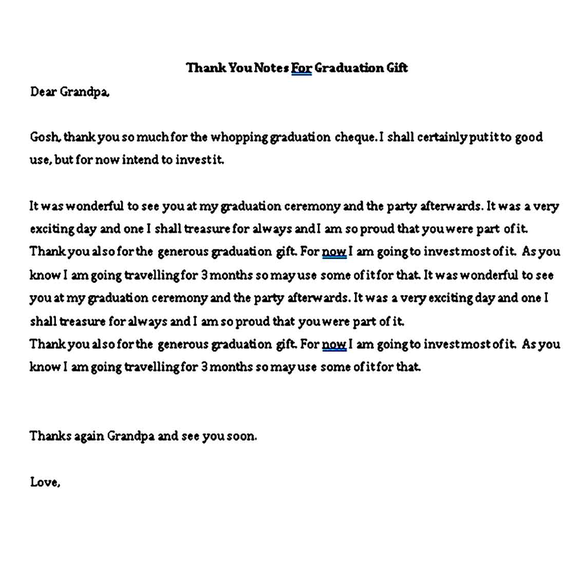 perfect graduation thank you note