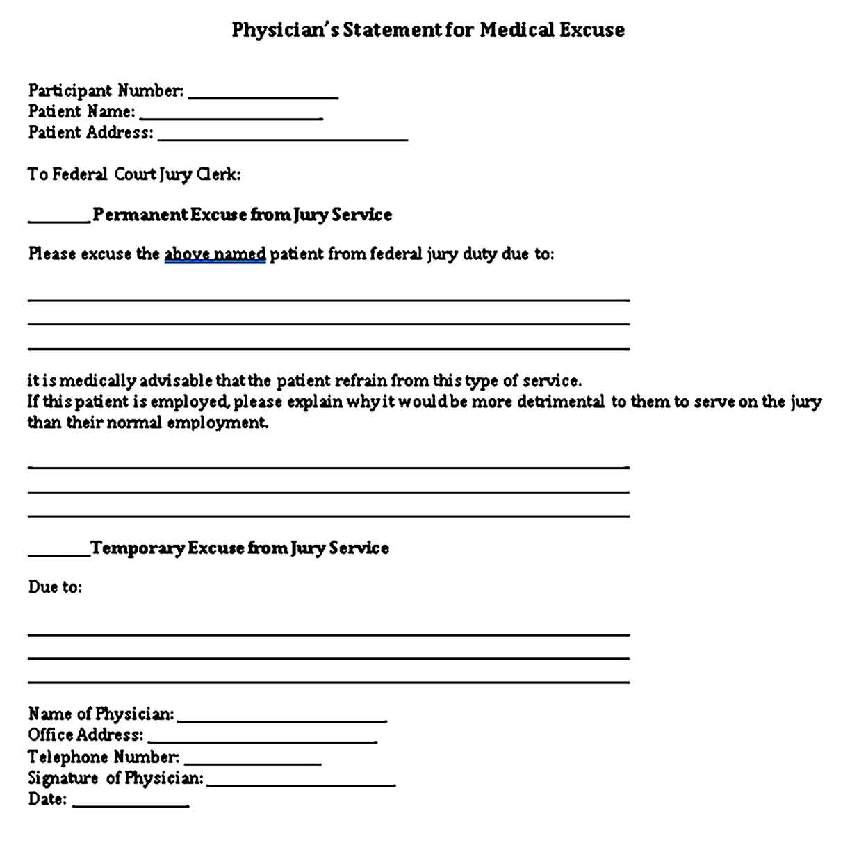 physicians excuse note templates