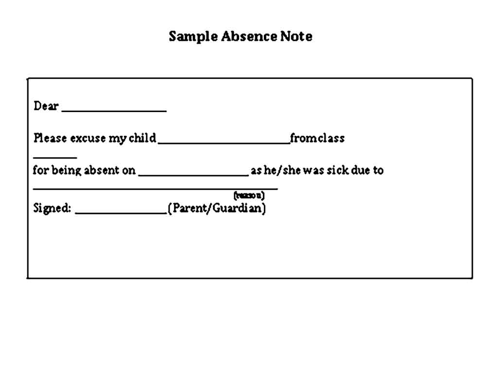 sample absence note template