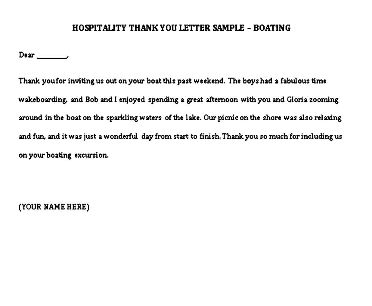 sample hospitality thank you notes