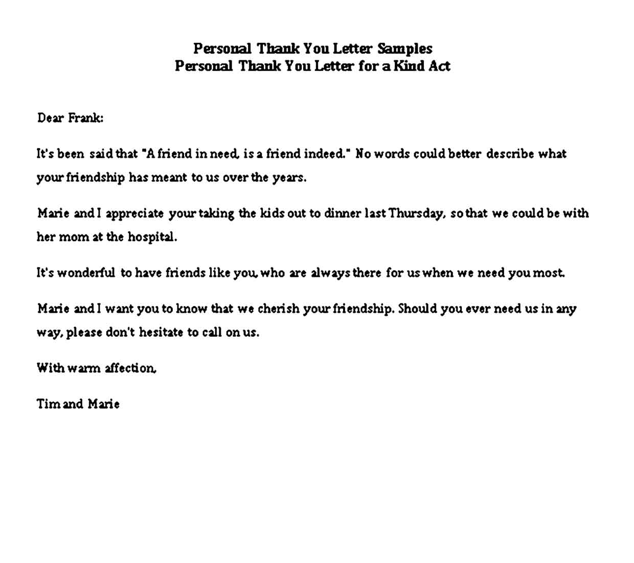 sample personal thank you notes