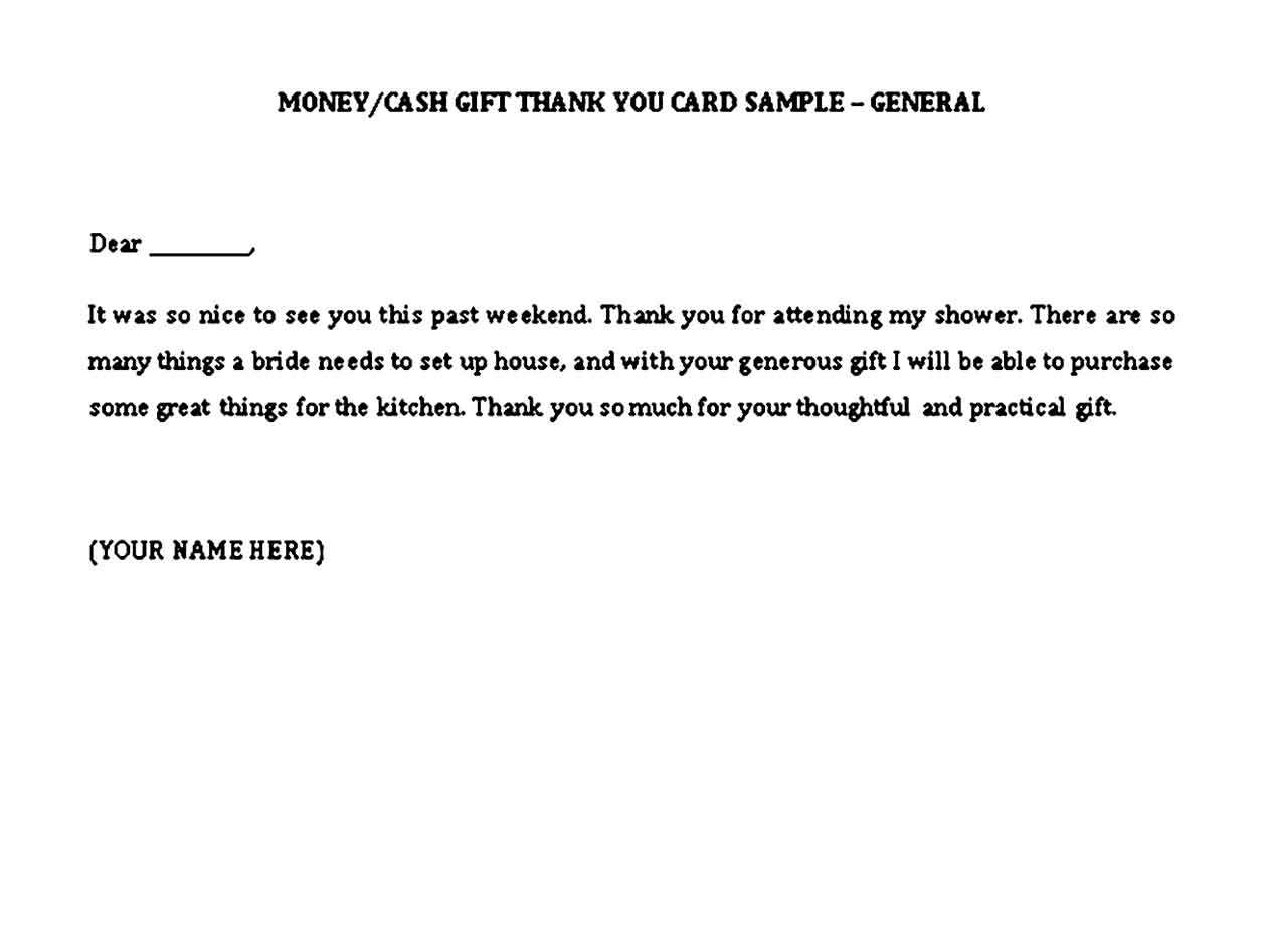 sample thank you notes for money