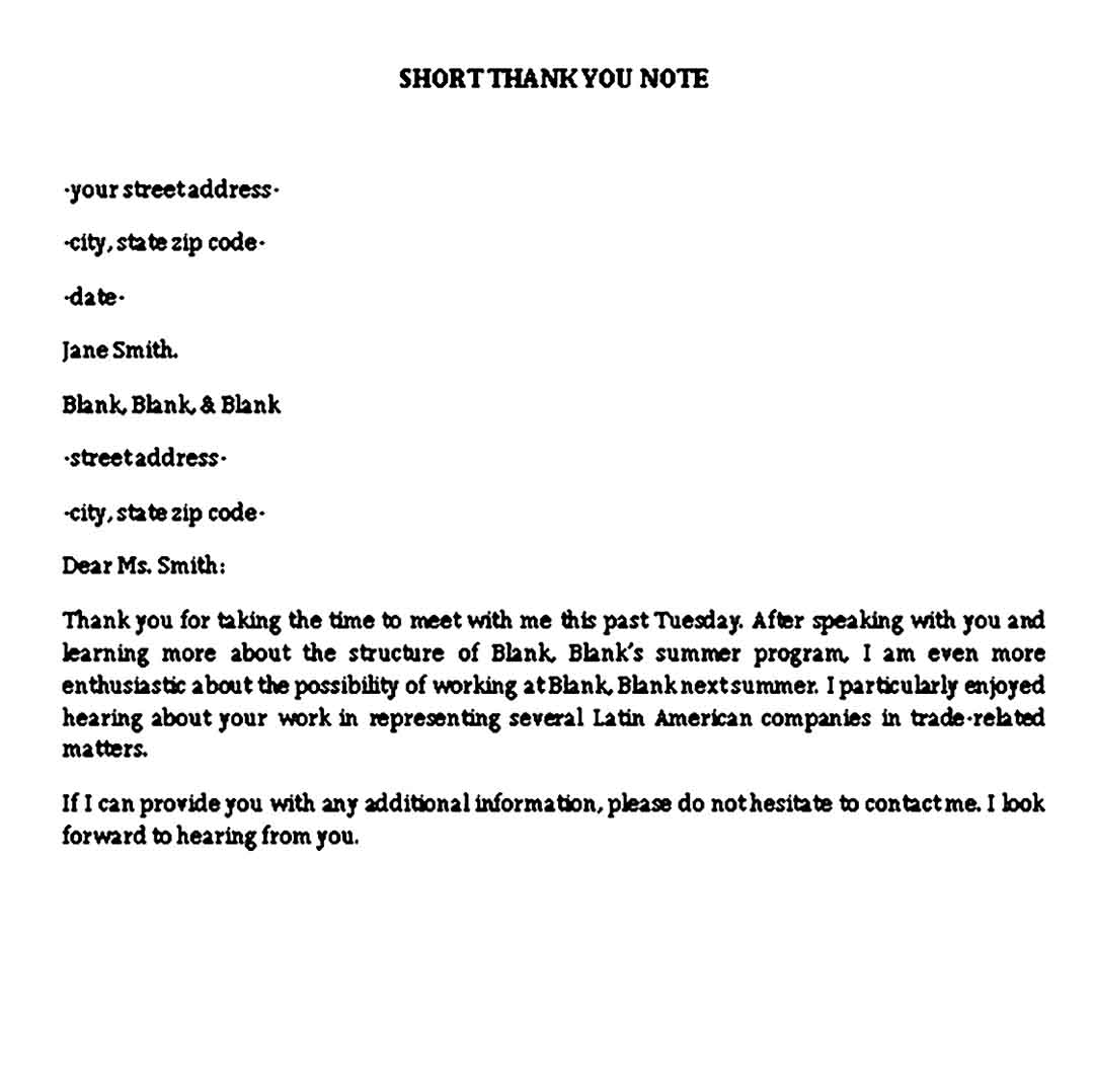short interview thank you note