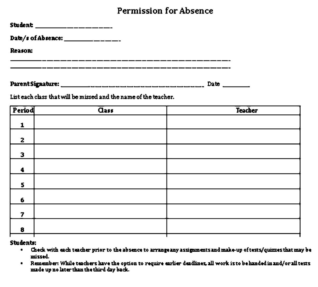 simple student excuse note template