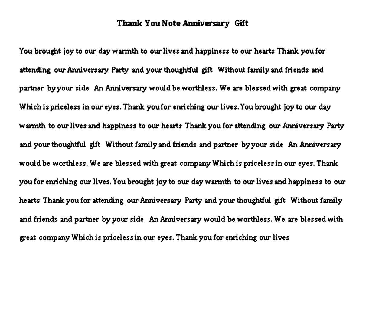 thank you note anniversary gift