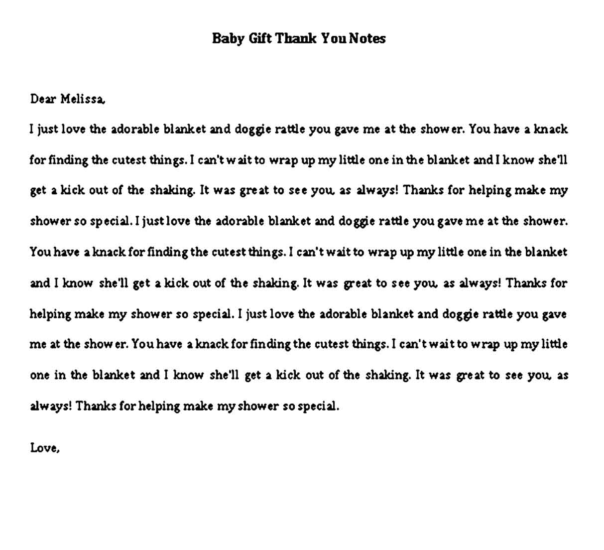 thank you note for baby gift