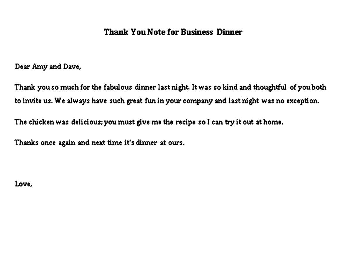 thank you note for business dinner