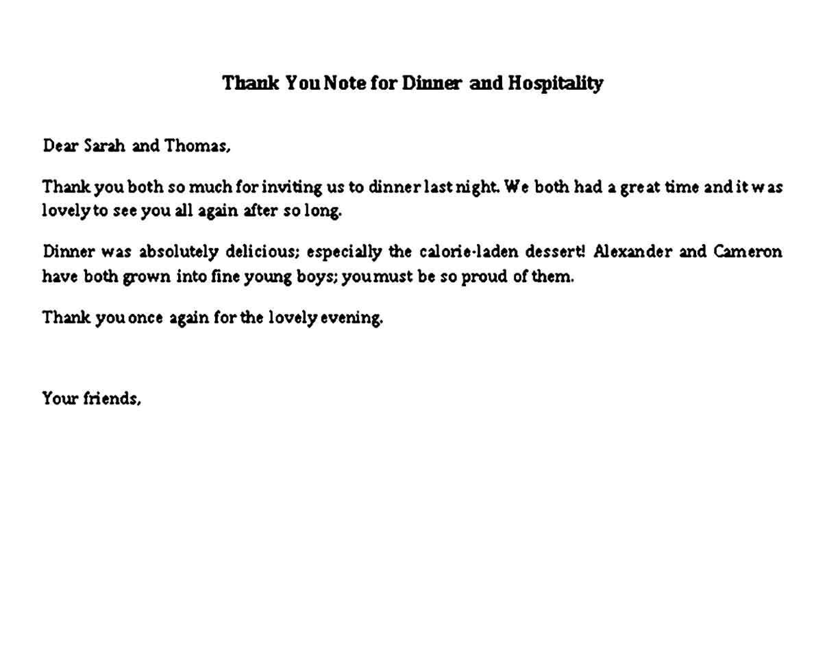 thank you note for dinner and hospitality