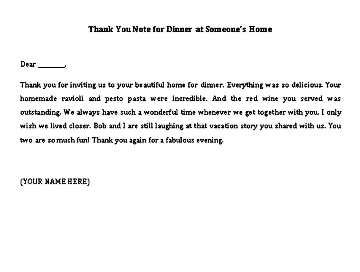thank you note for dinner at someones home