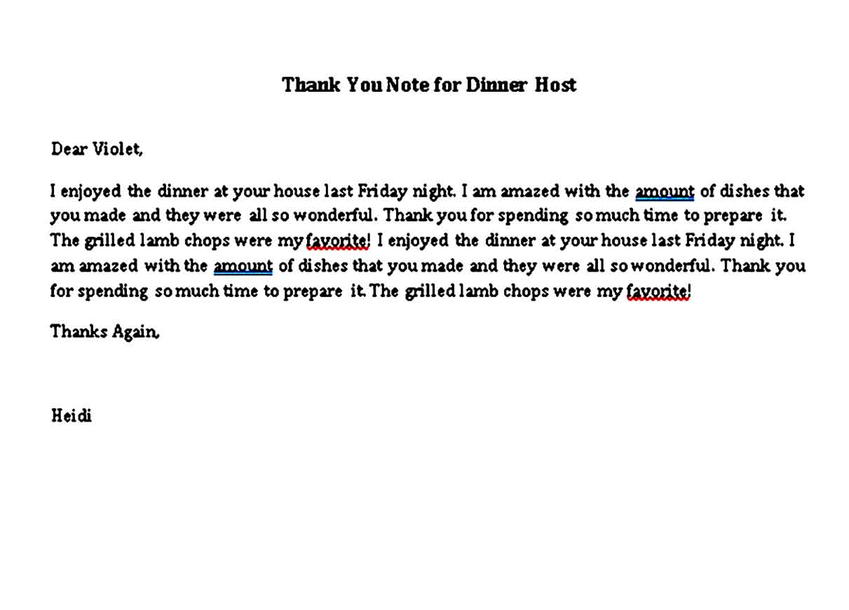 thank you note for dinner host