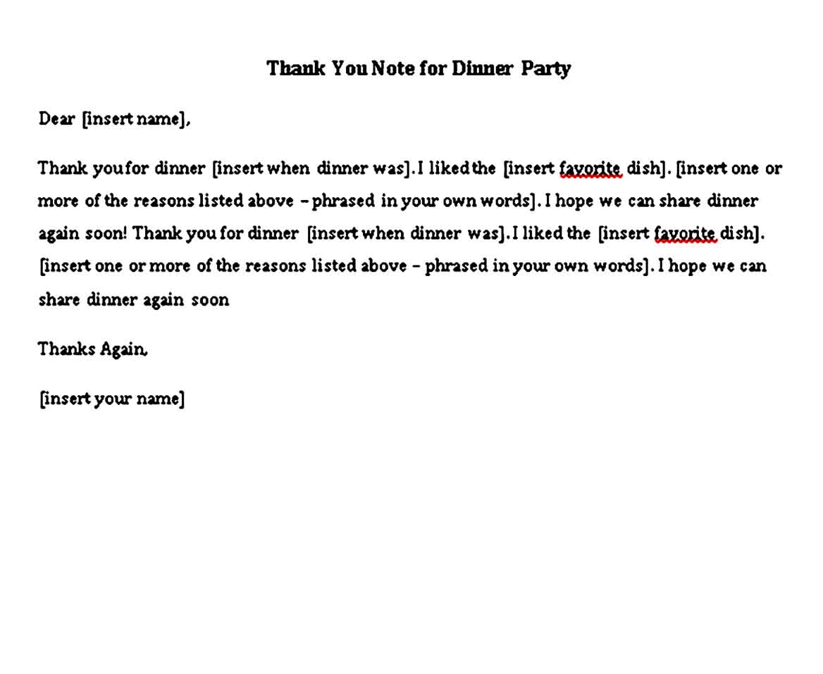 thank you note for dinner party