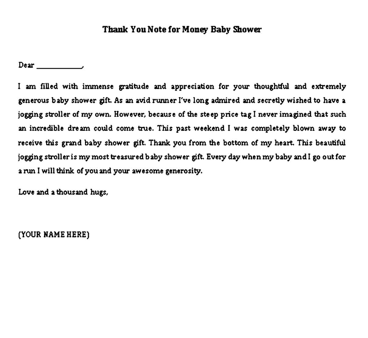 thank you note for money baby shower
