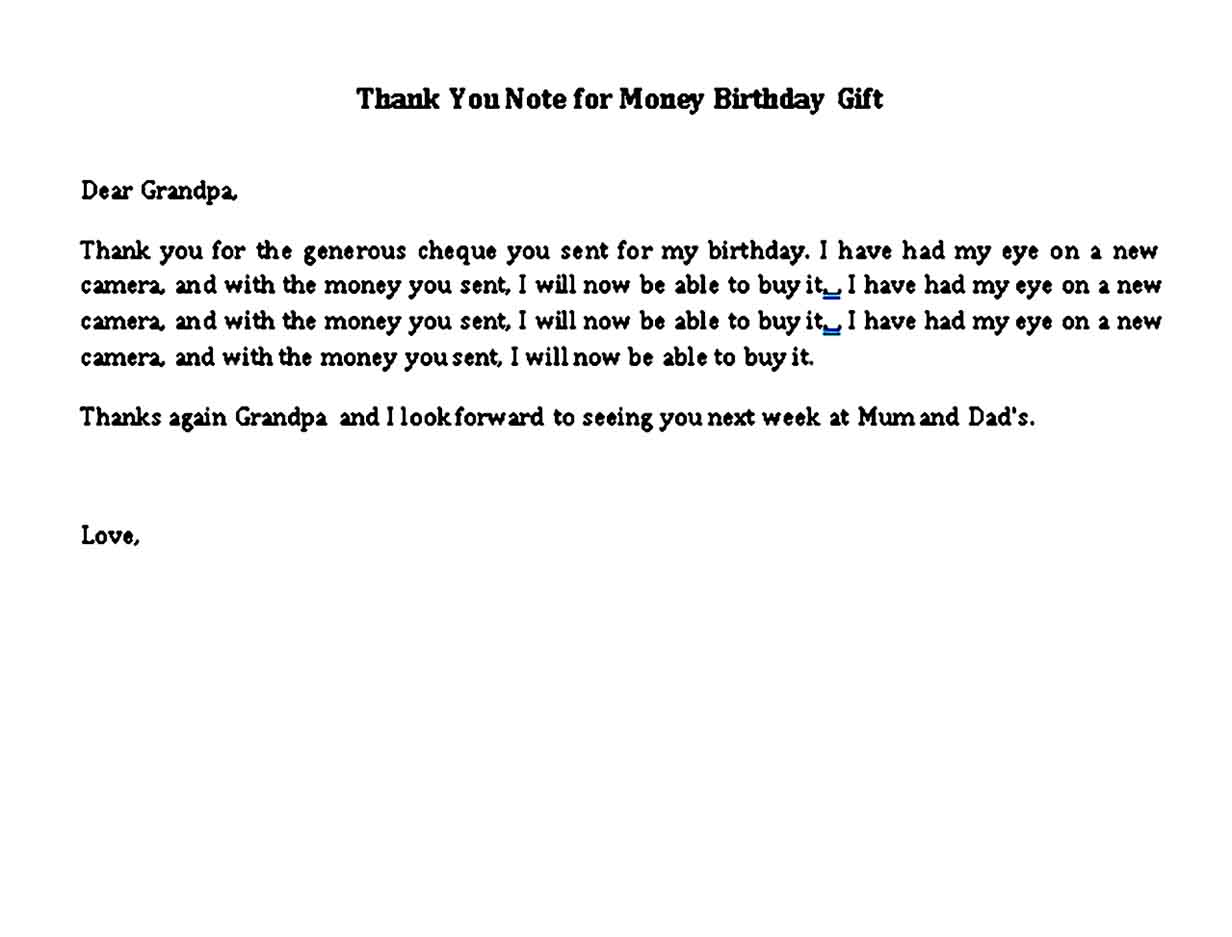 thank you note for money birthday gift