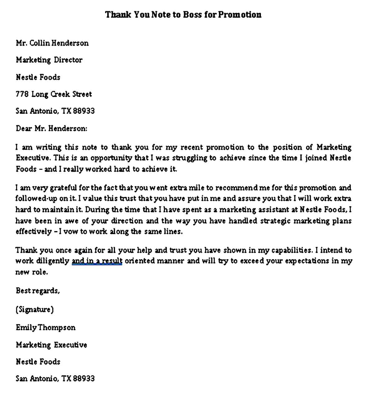 thank you note to boss for promotion