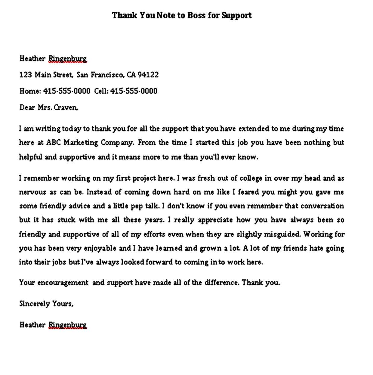 thank you note to boss for support