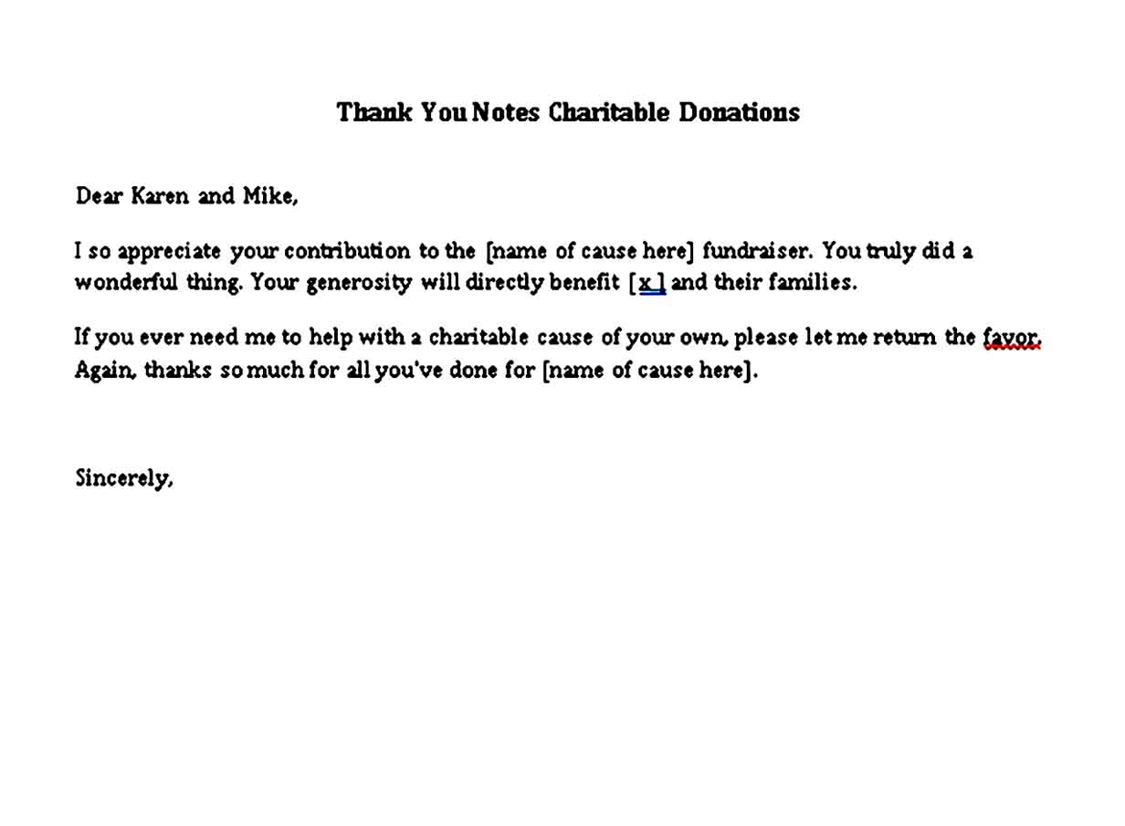 thank you notes charitable donations