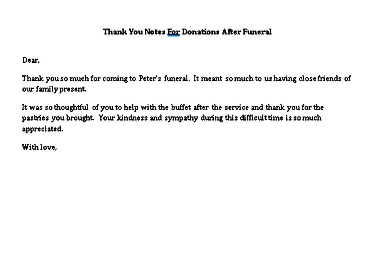 thank you notes for donations after funeral