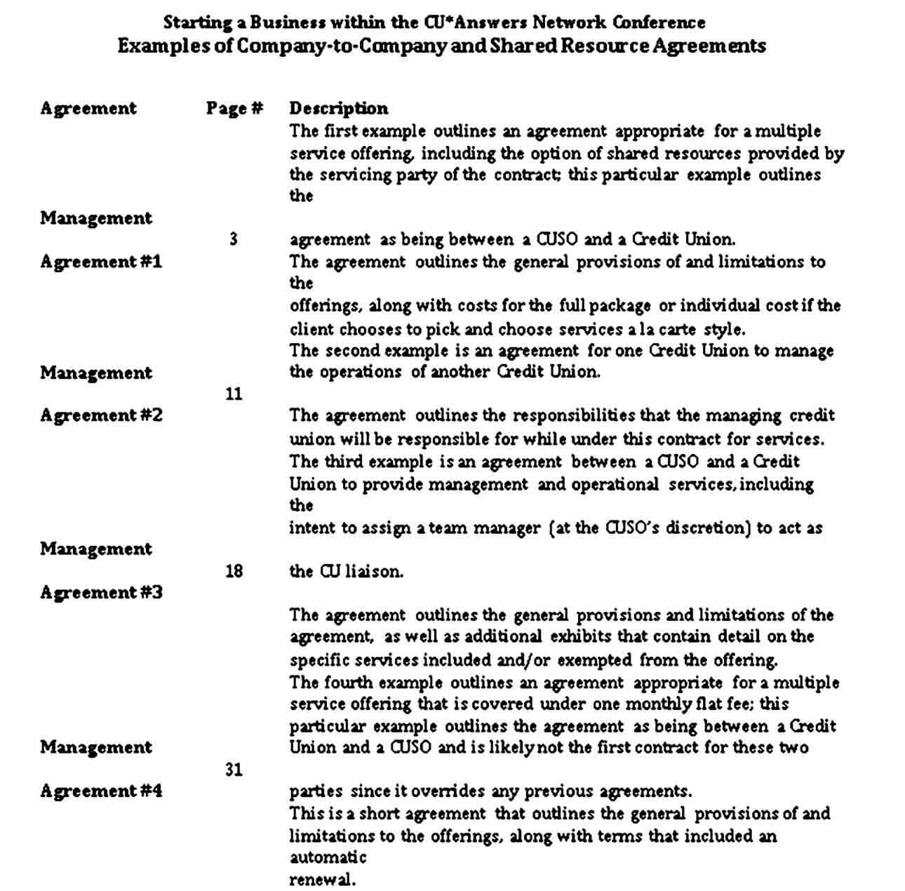 Company to Company and Shared Resource Agreements