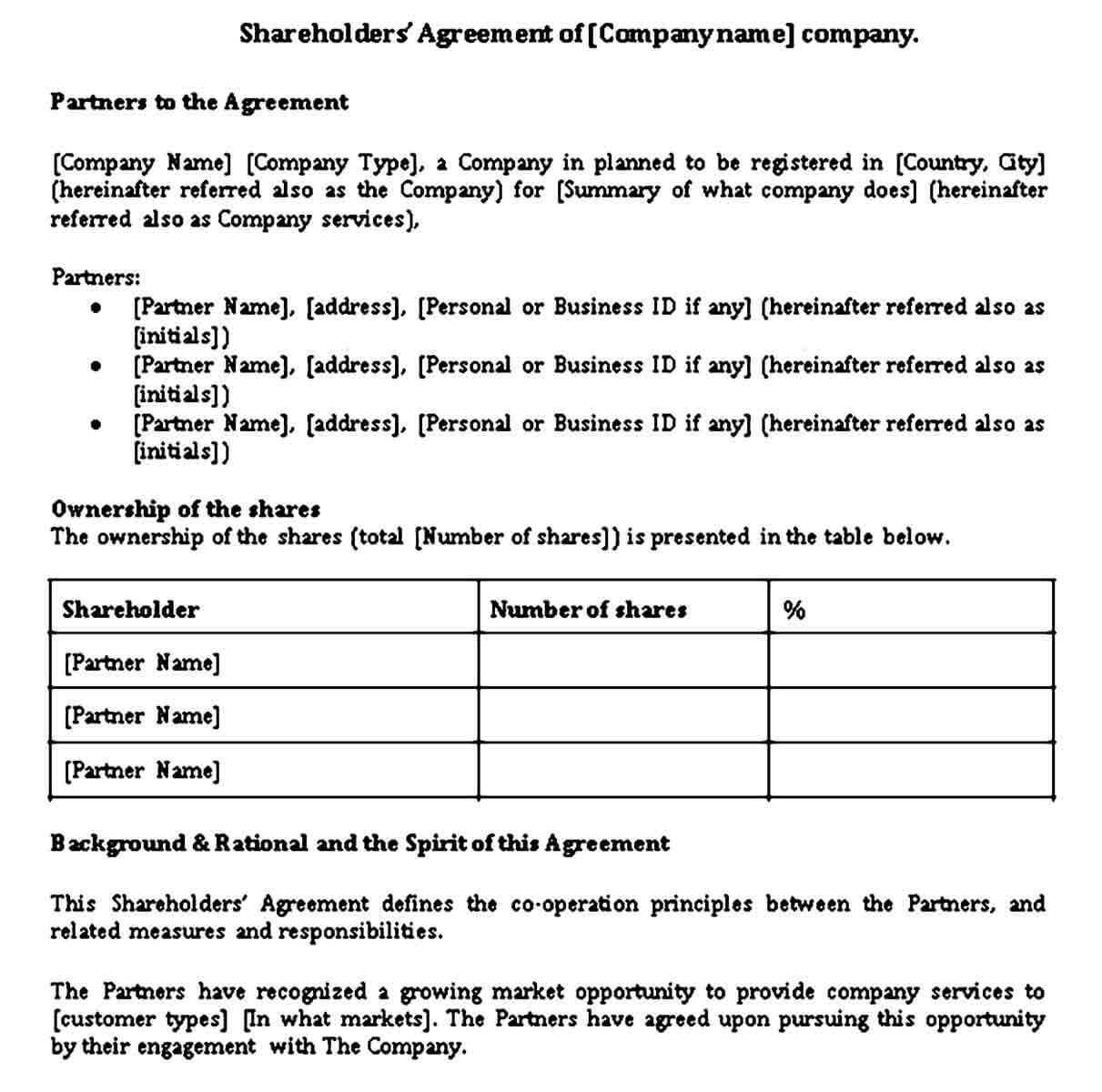 Companys Shareholder Agreement Template