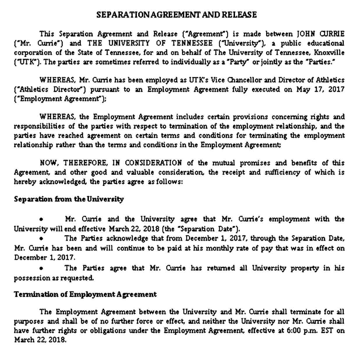 Formal Separation Agreement Template