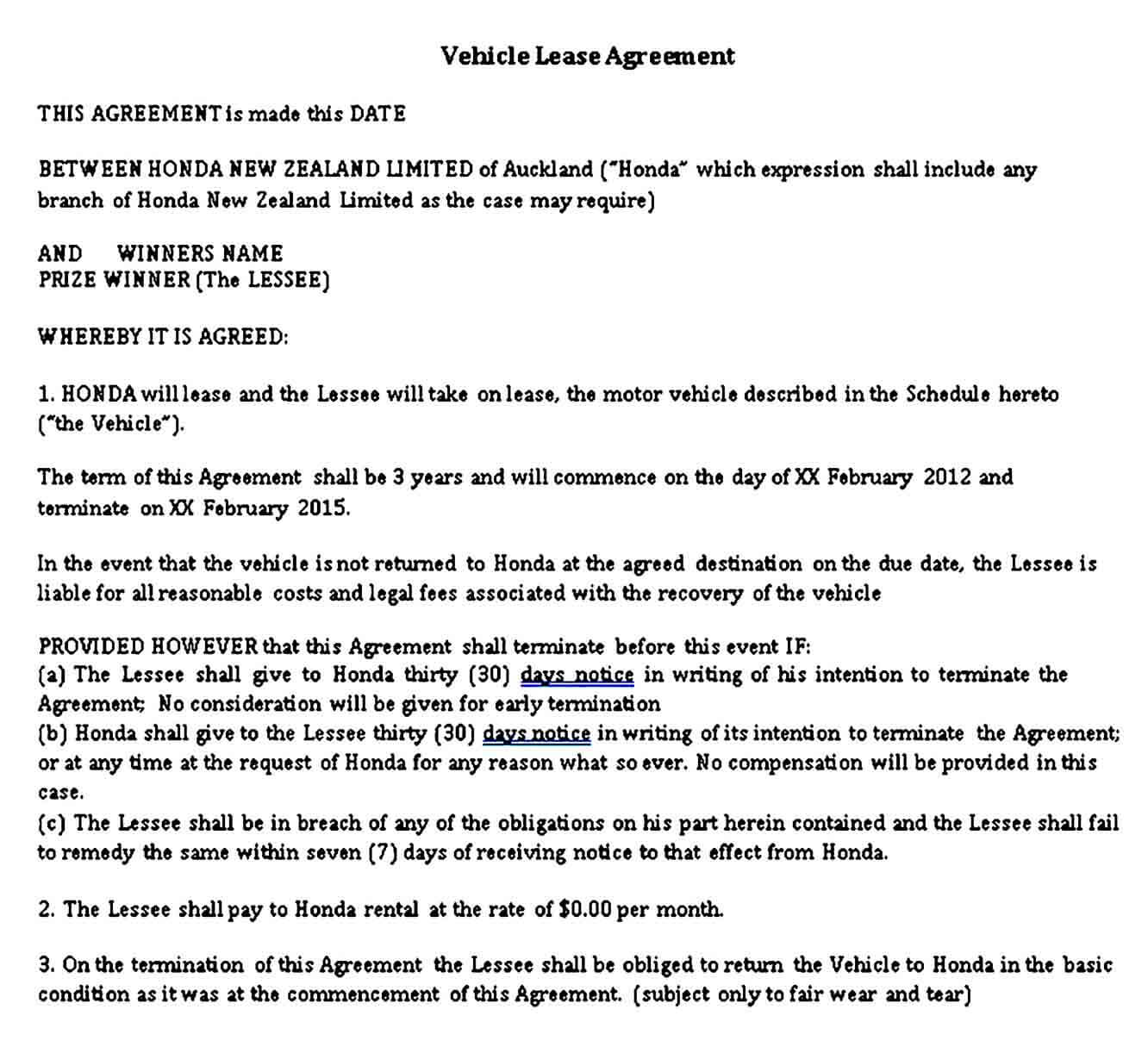 Free Vehicle Lease Agreement Template