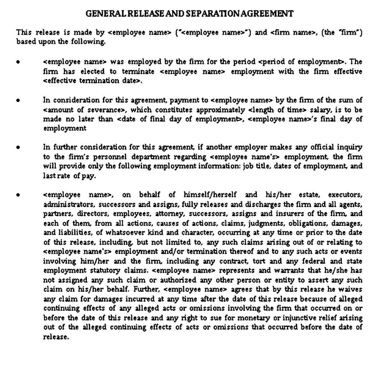 General Release and Separation Agreement