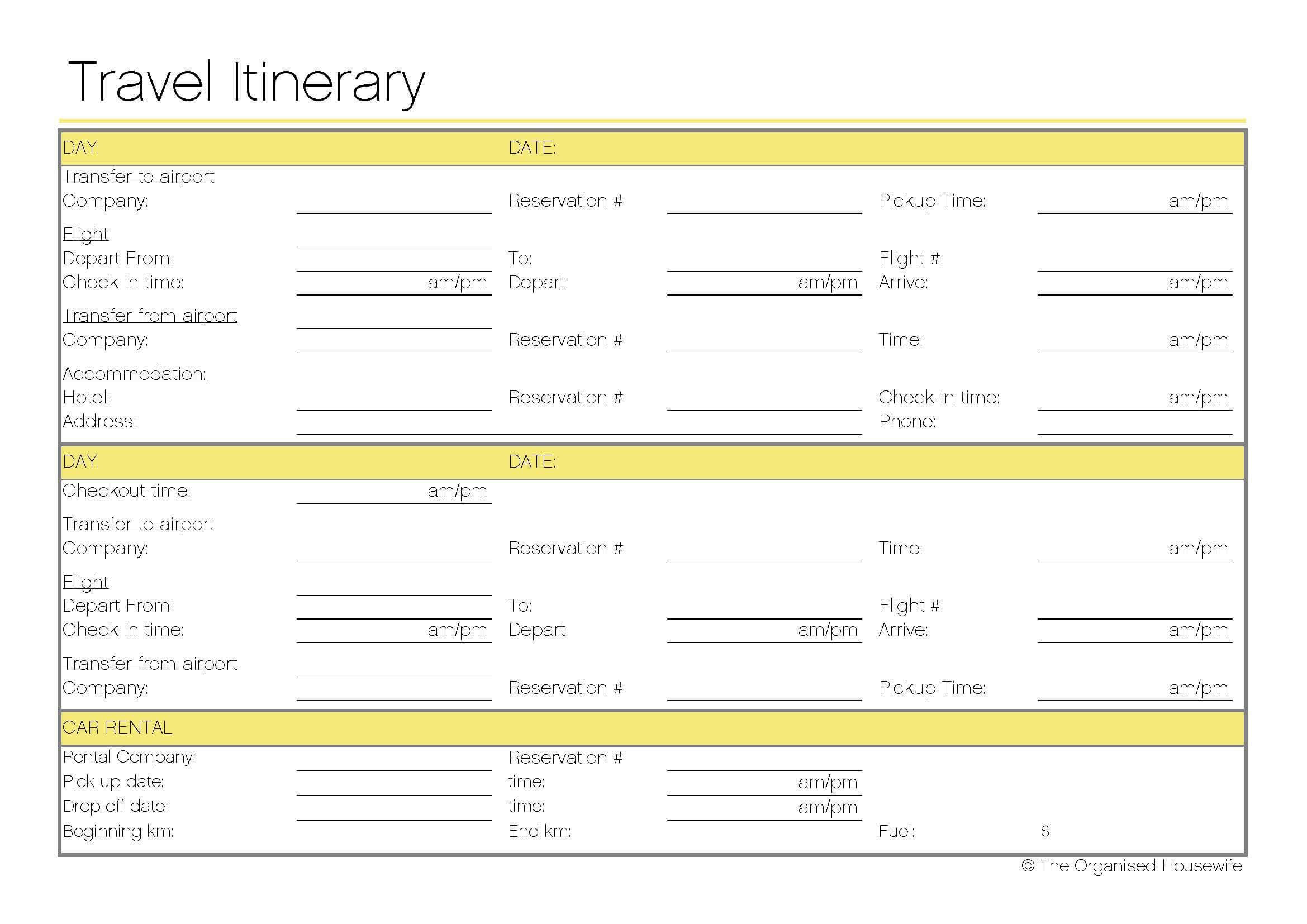 Itinerary Numbers Template 1