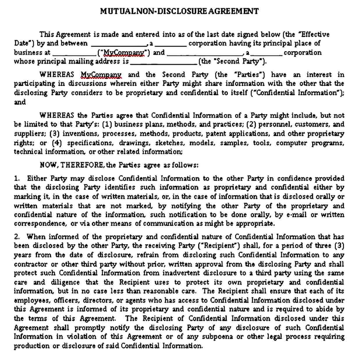 Mutual Standard Non Disclosure Agreement Template Word Doc