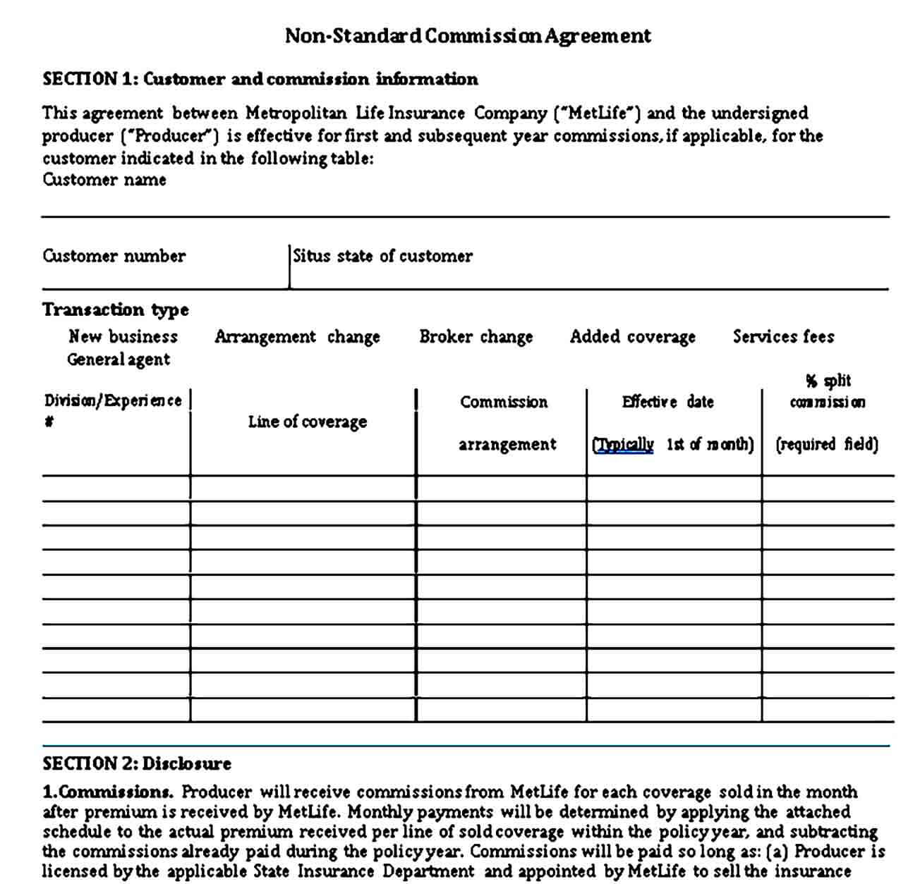 Non Standard Commission Sales Agreement