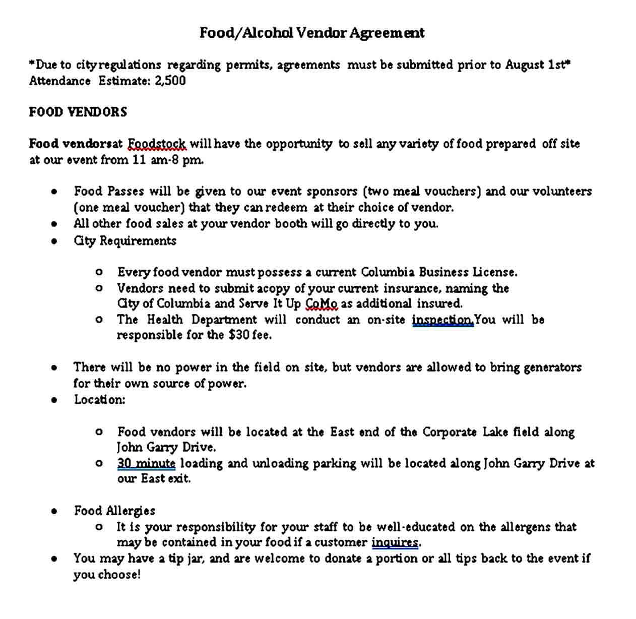 Restaurant Food and Alcohol Vendor Agreement