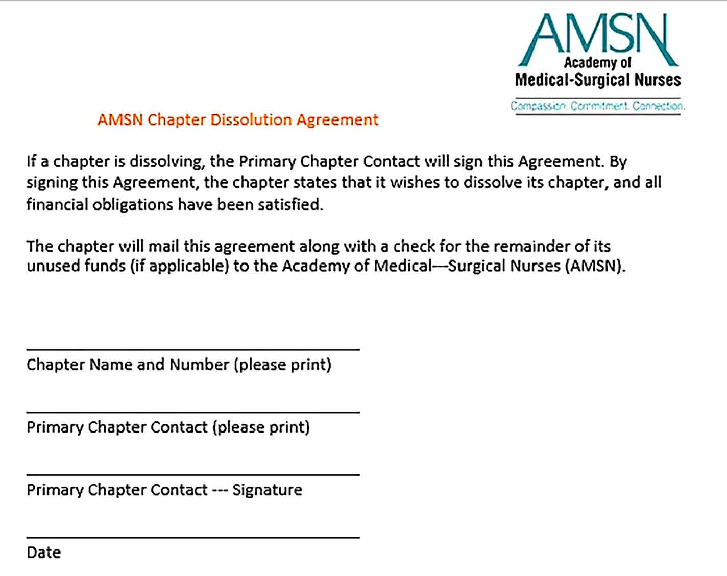 Sample Chapter Dissolution Agreement