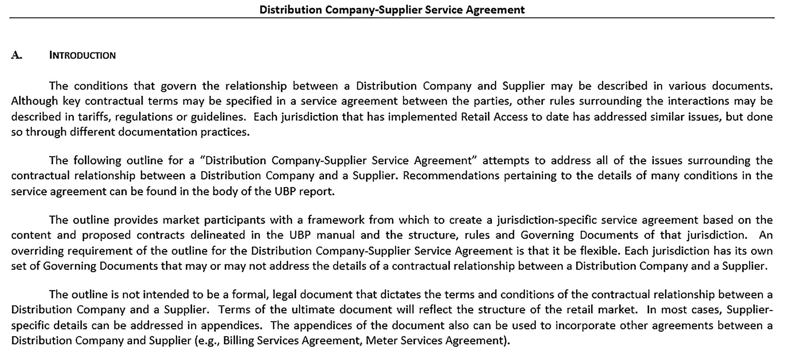 Sample Distribution Company Supplier Service Agreement