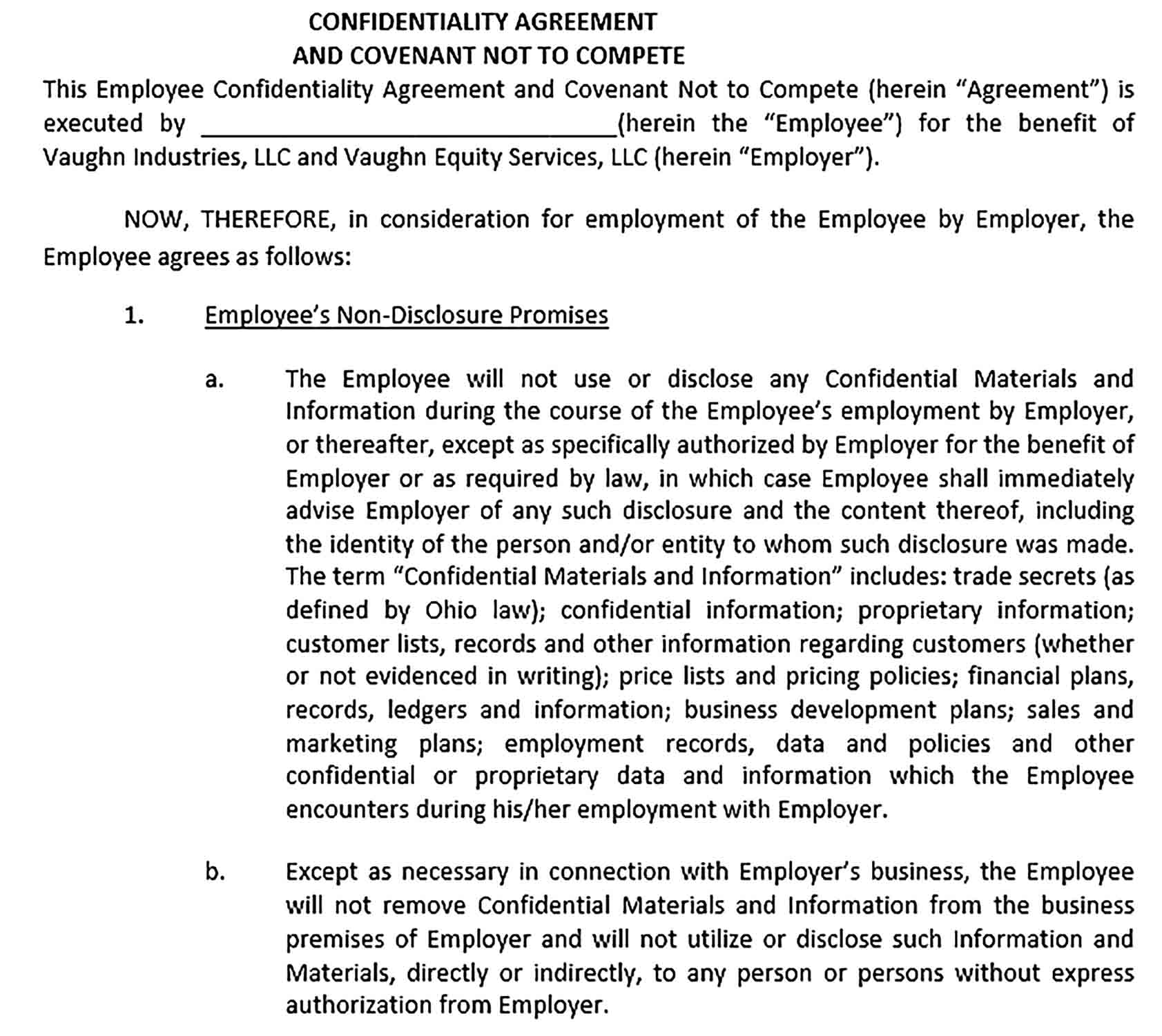 Sample Employee Confidentiality Agreement 001