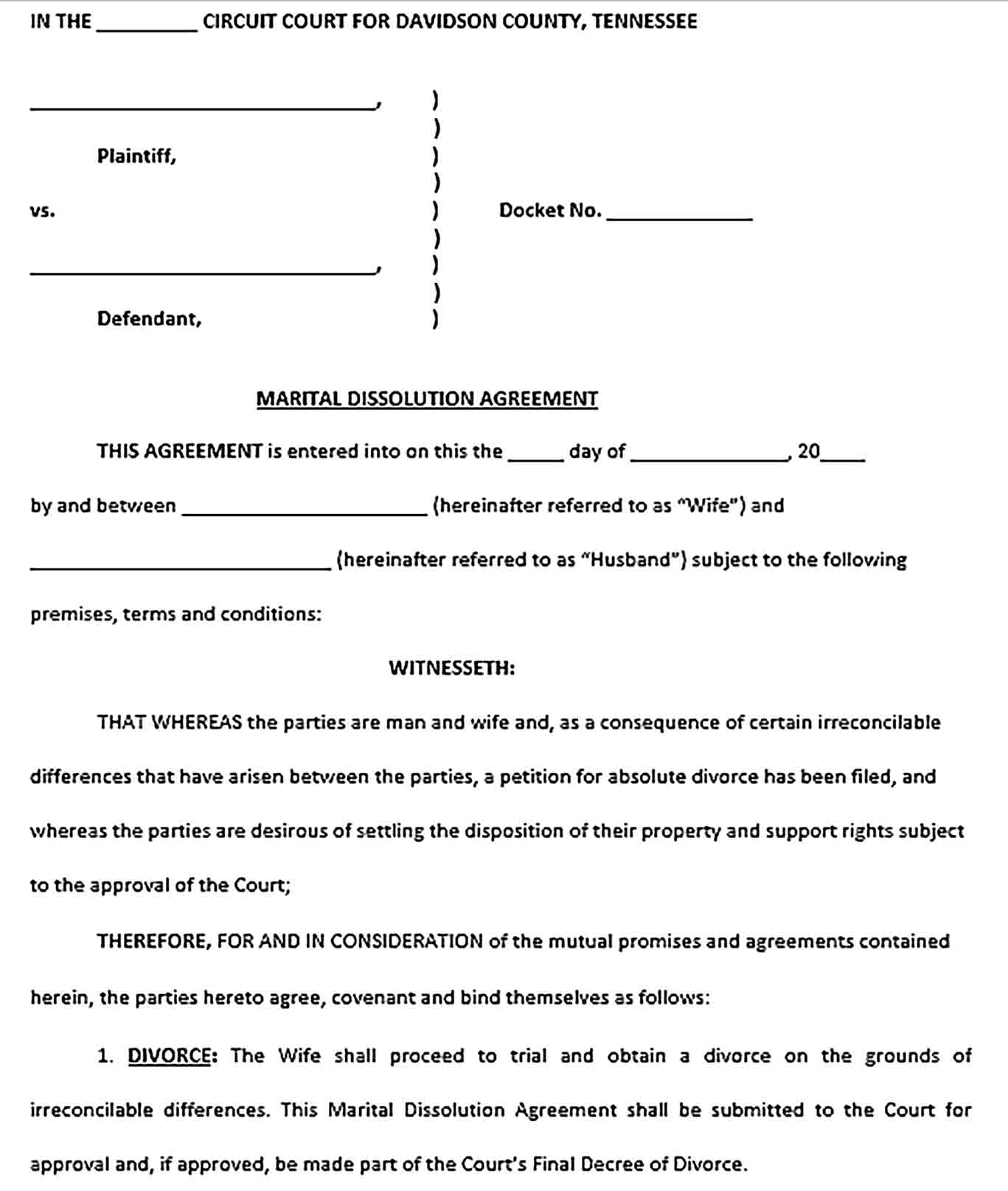 Sample Martial Dissoluation Agreement