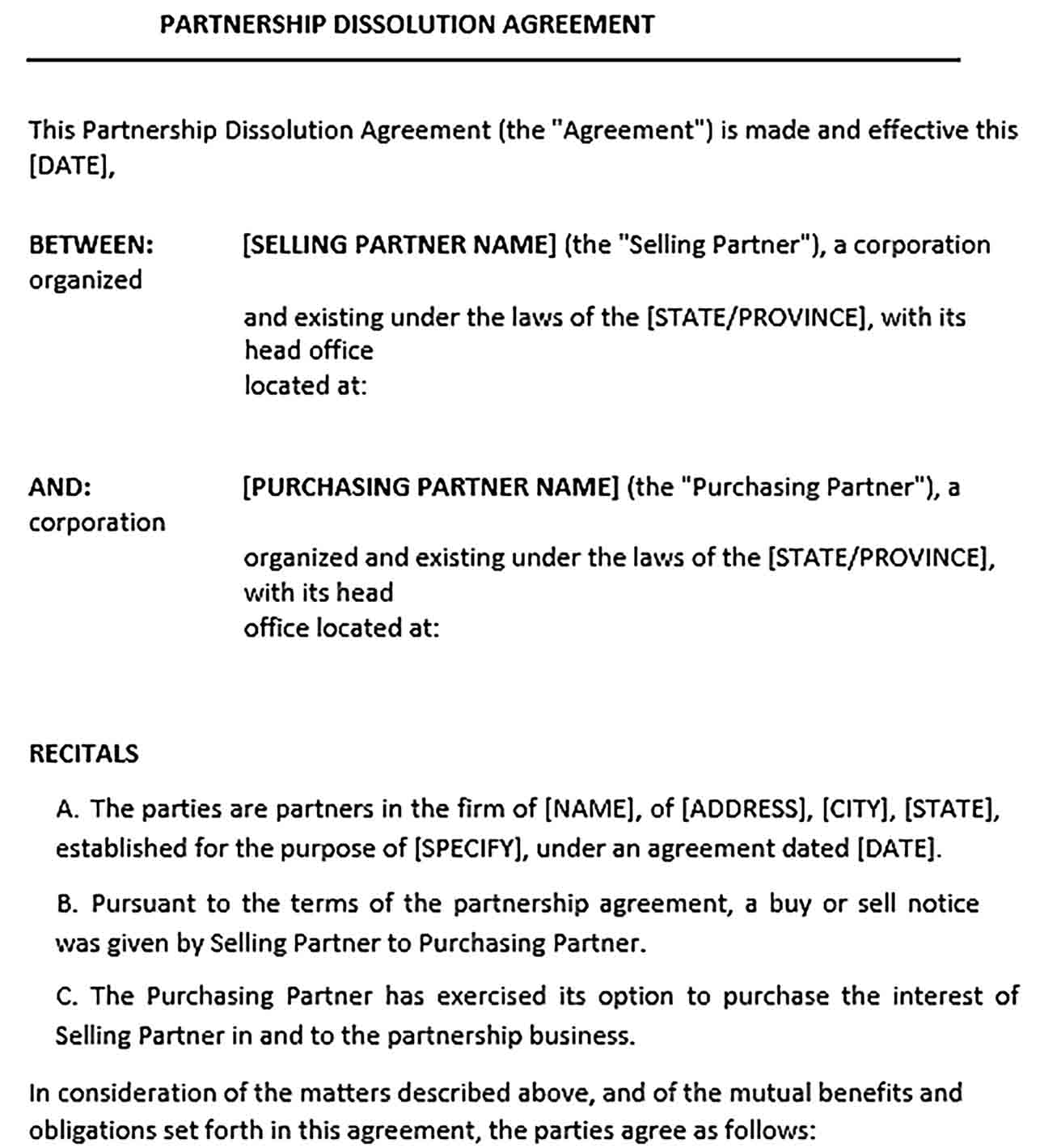 Sample Partnership Dissoluation Agreement