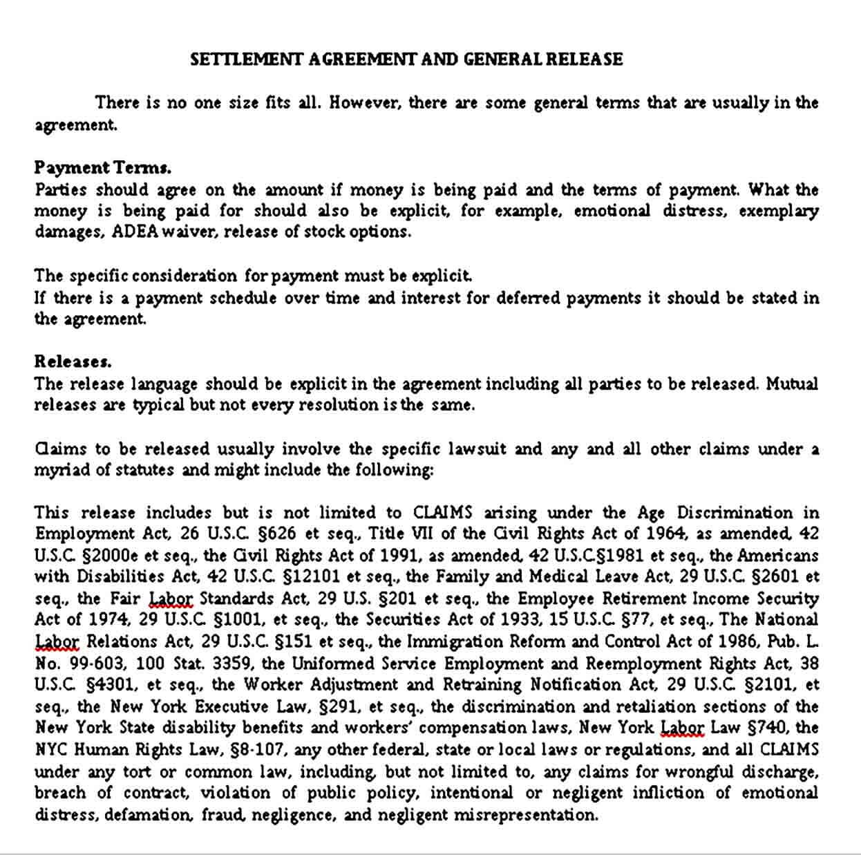 Settlement Agreement and General Release Document