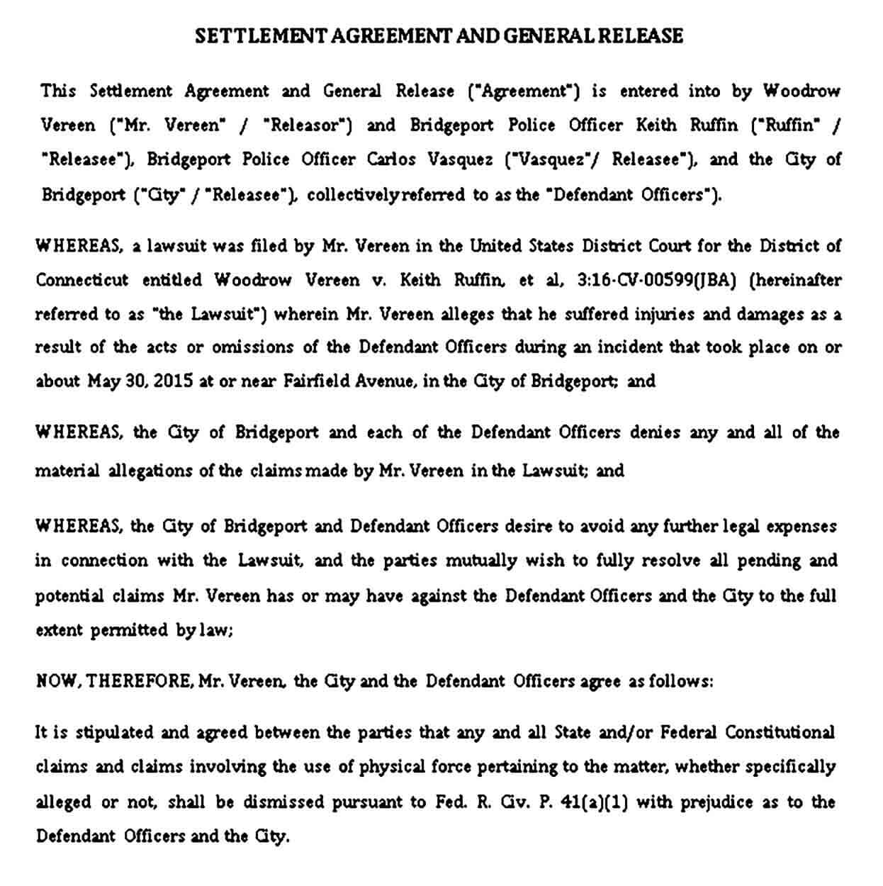 Settlement Agreement and General Release Sample