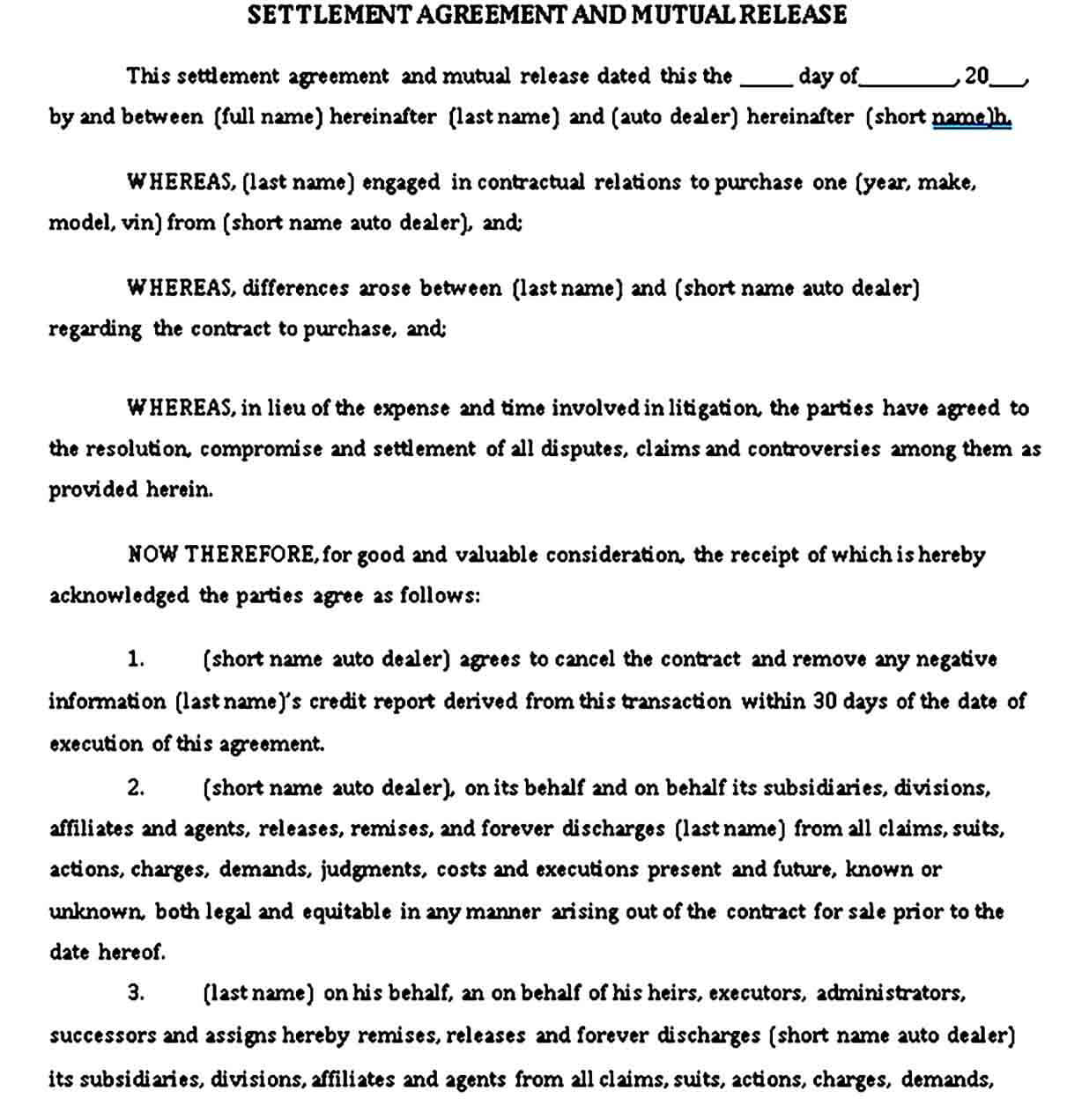 Settlement Agreement and Mutual Release Sample Template