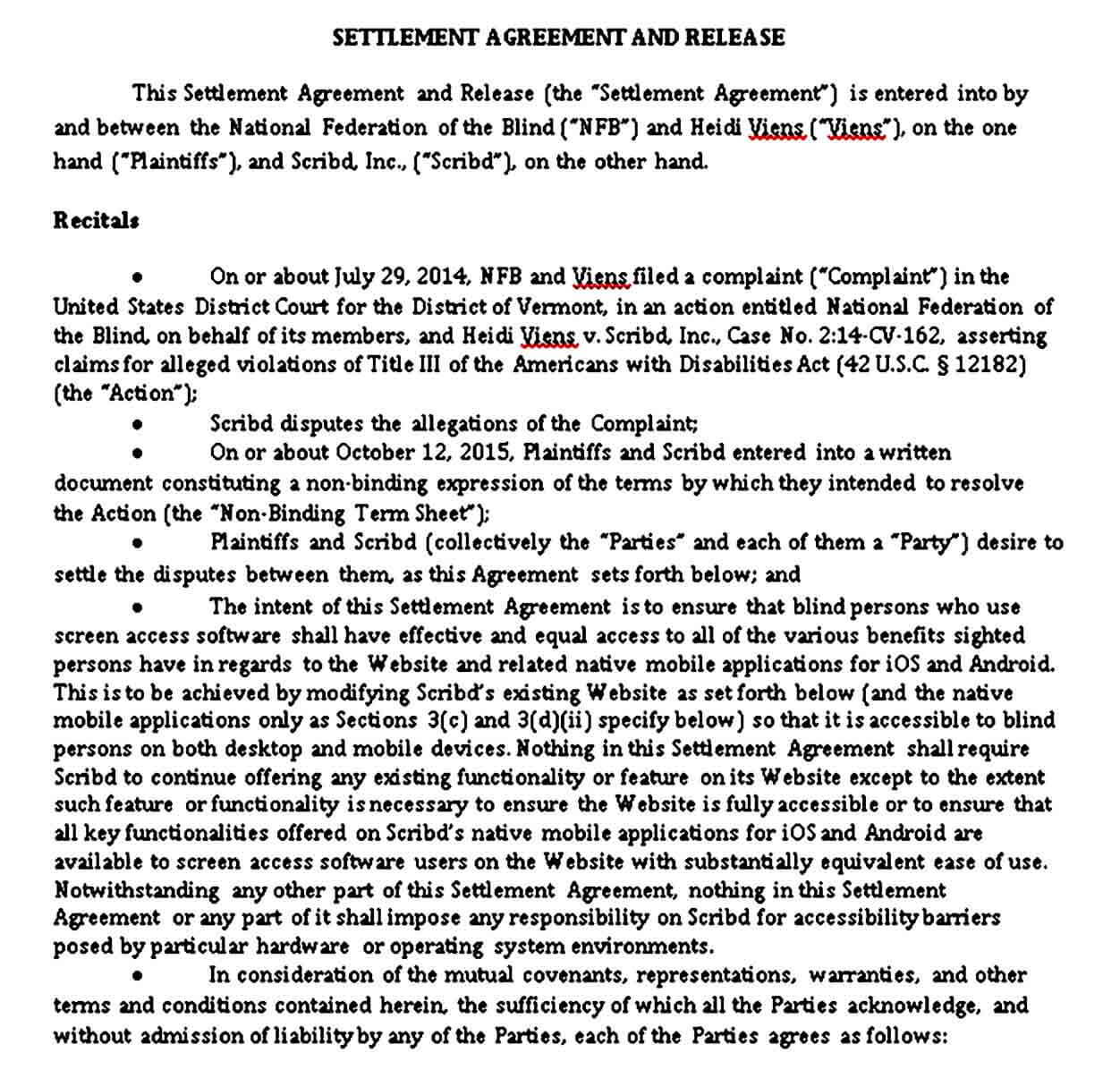 Settlement Agreement and Release Template
