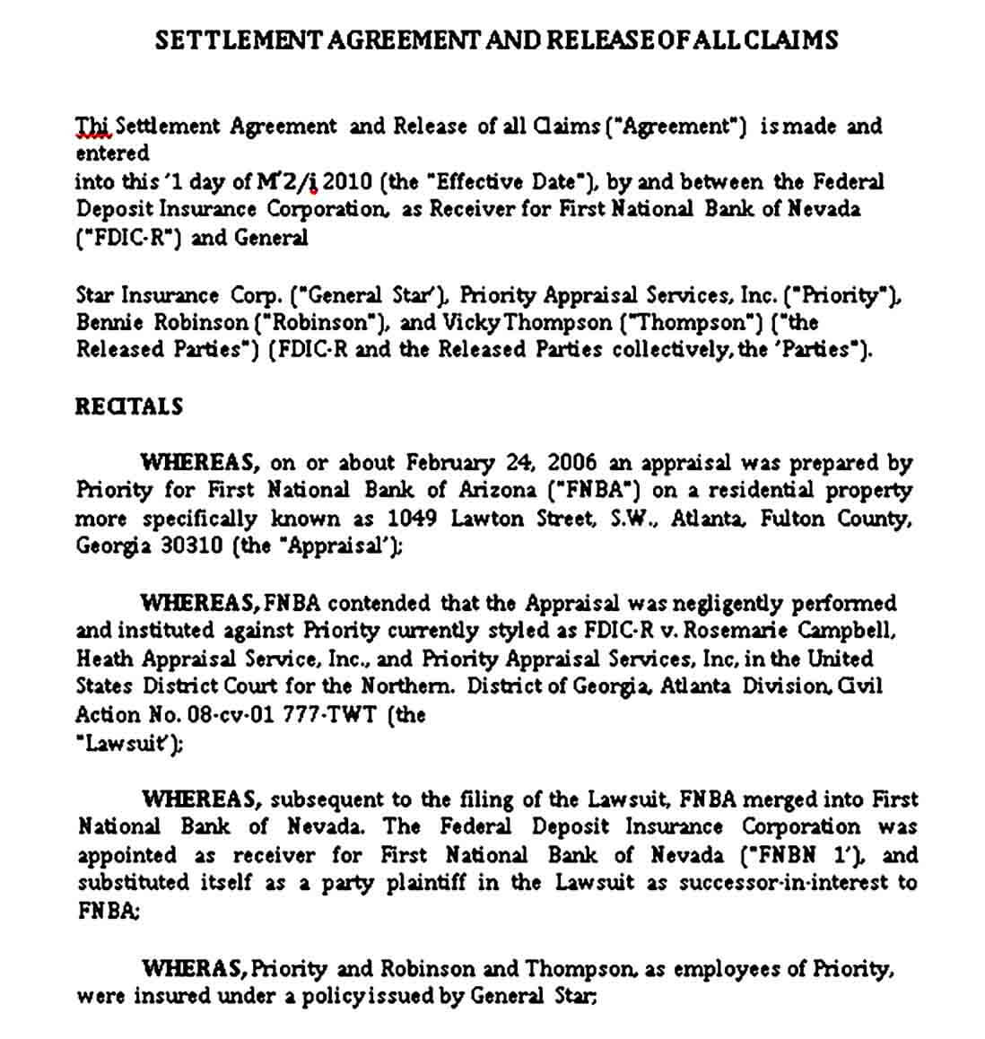 Settlement Agreement and Release of All Claims
