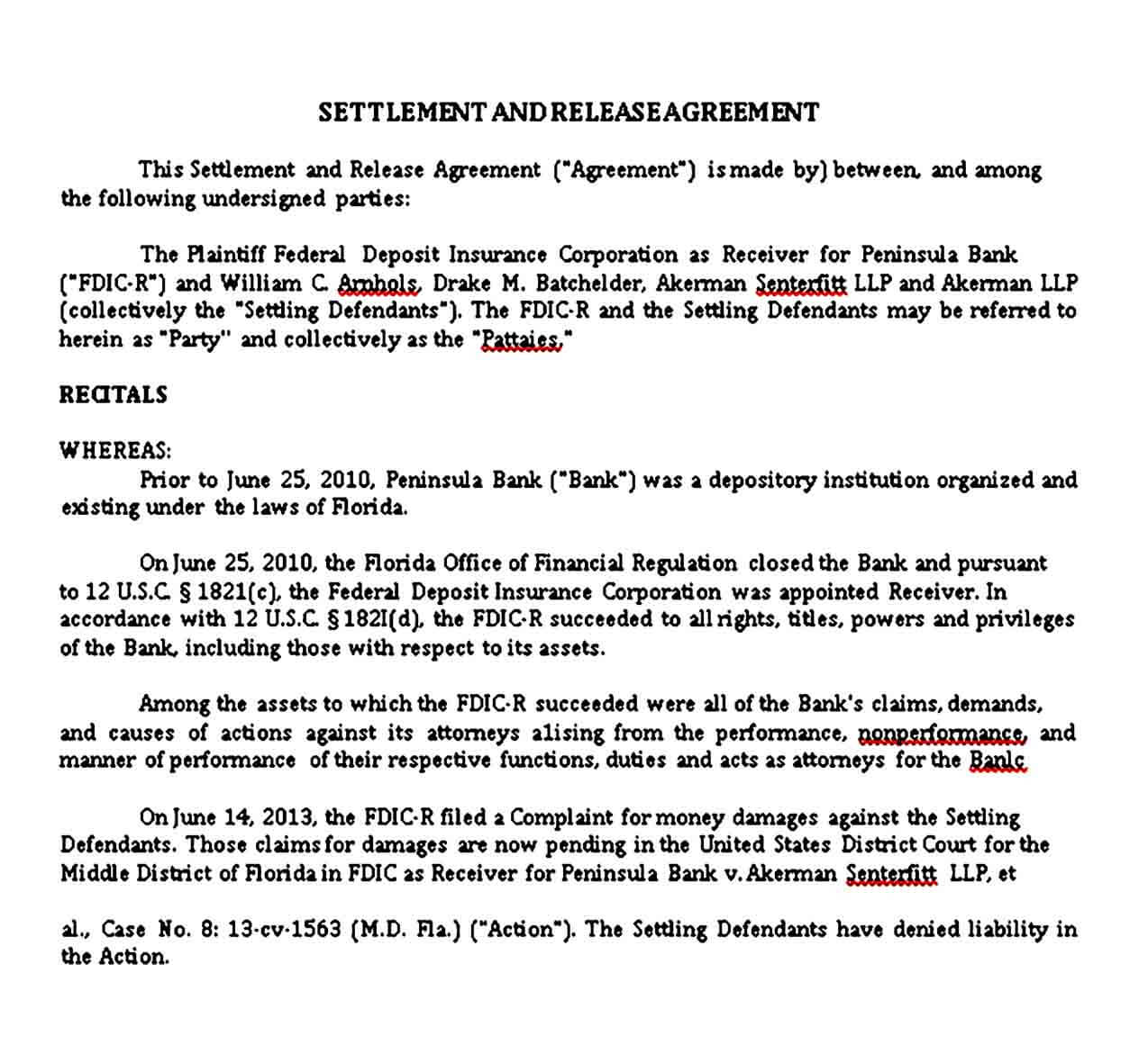 Settlement and Release Agreement Template