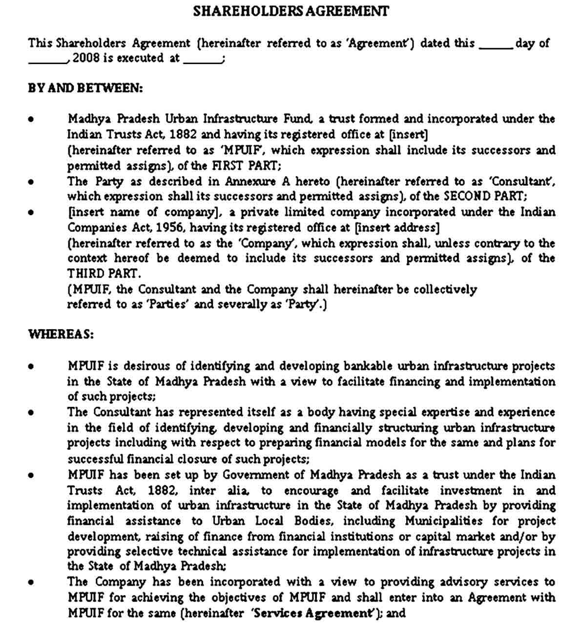 Shareholders Agreement Template PDF Format