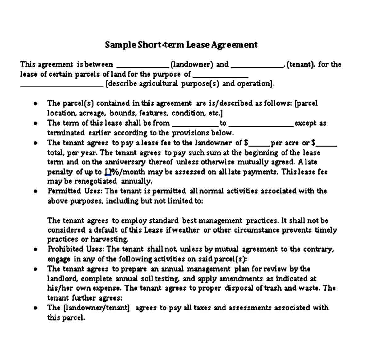 Short Lease Agreement Template