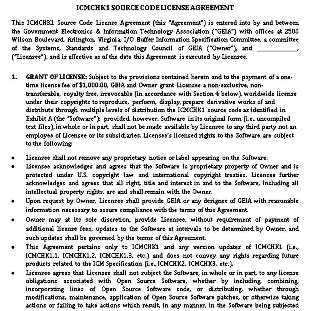 Source Code Licence Agreement