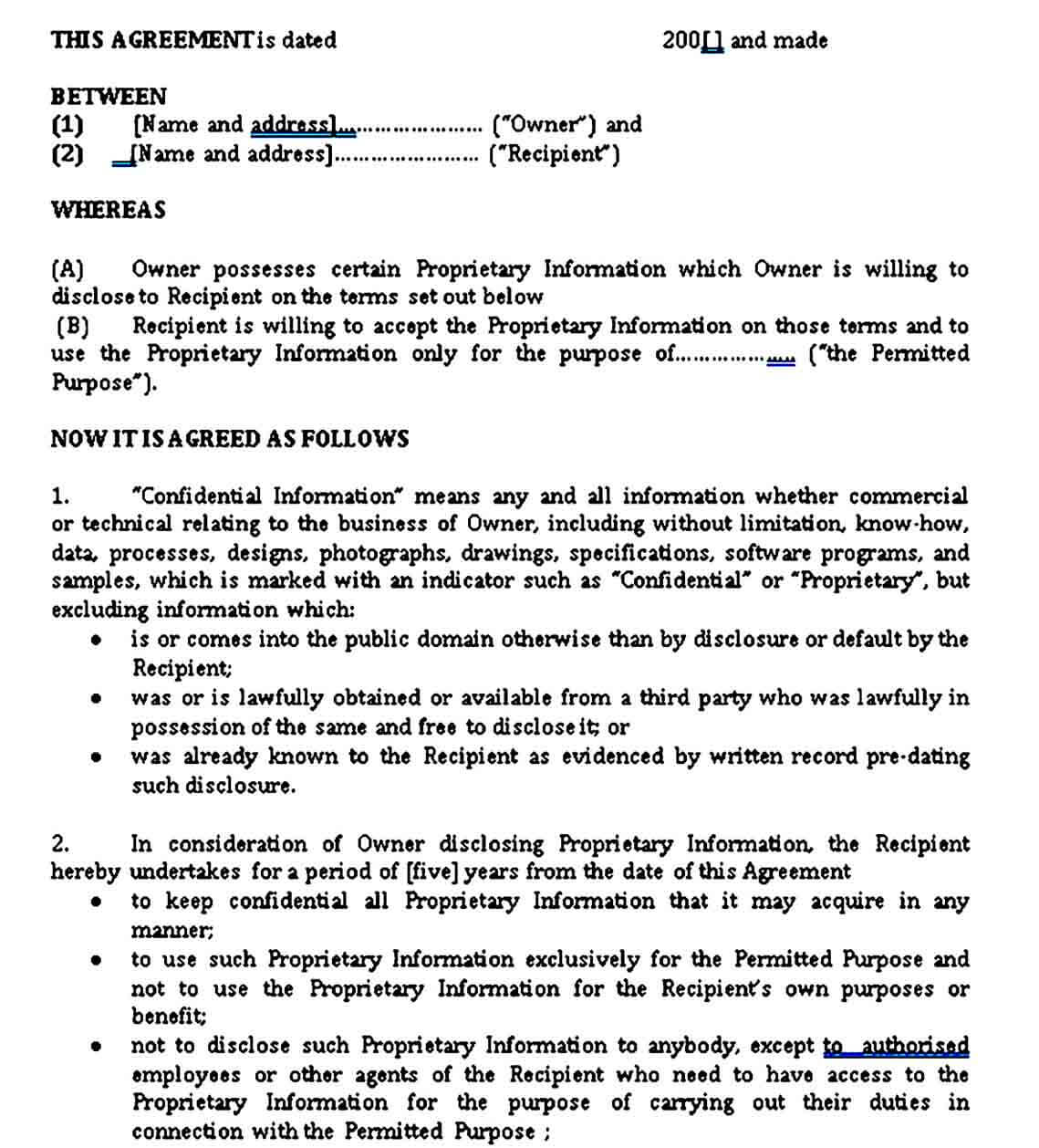Standard Model Non Disclosure Agreement Form Doc