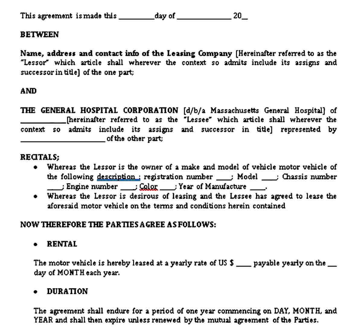Standard Vehicle Lease Agreement Template