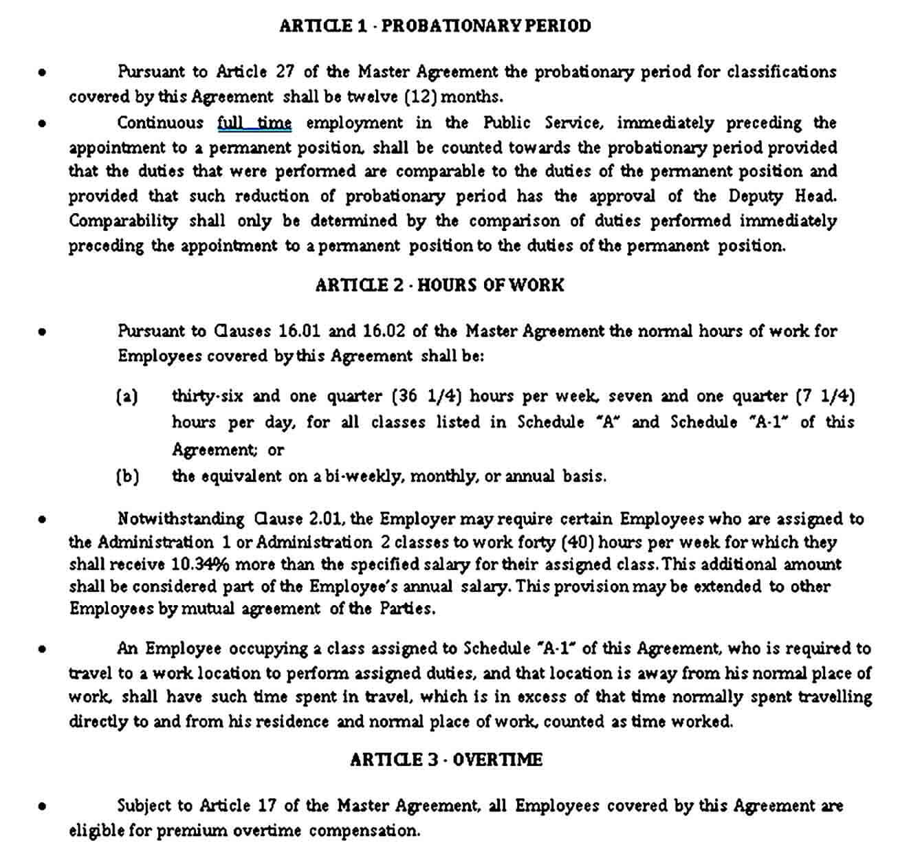 Subsidiary Agreement Example