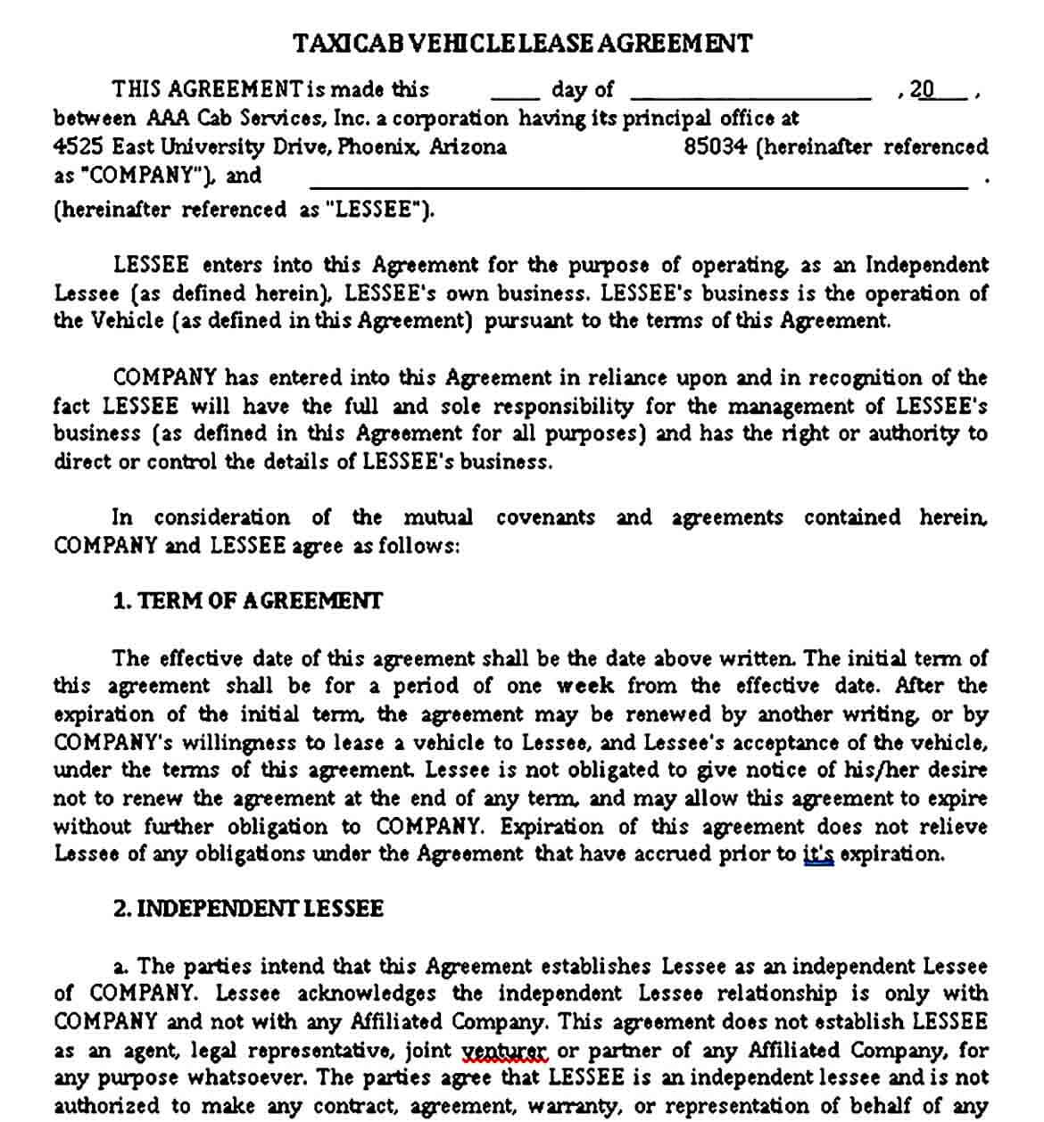 Taxi Vehicle Lease Agreement